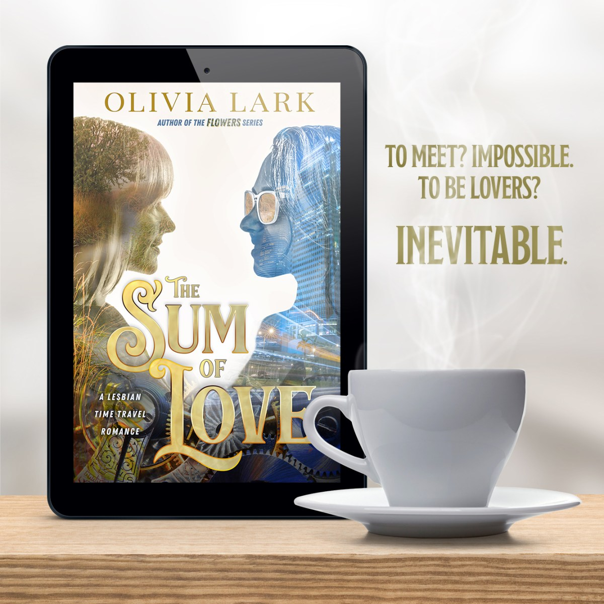 Kindle mockup with Sum of Love book cover