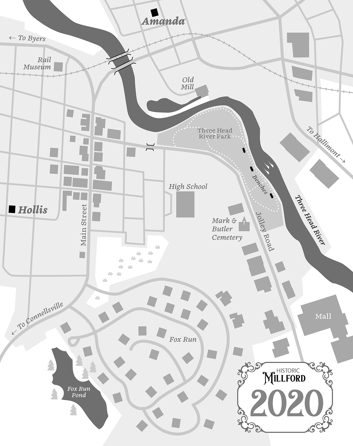 Map of fictitious town in 2020