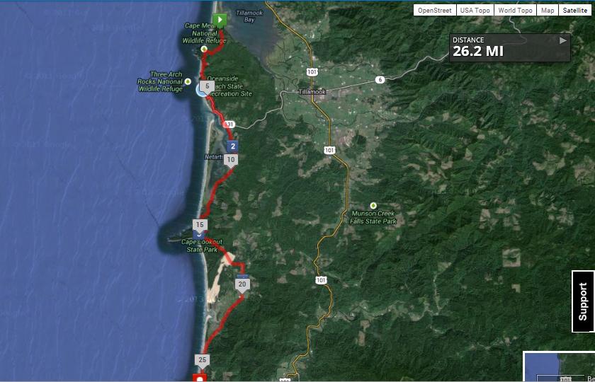 Map of Three Capes Relay Marathon