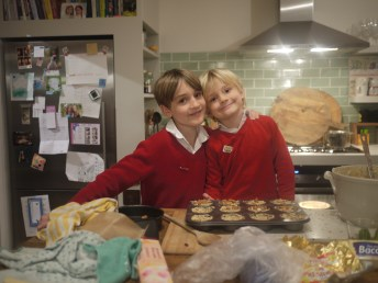 Rupert and Charles with the mini- Christmas cakes