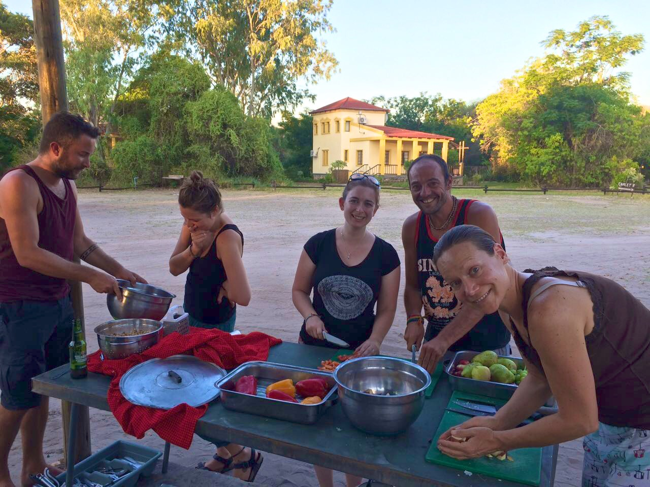 Prepping dinner at camp