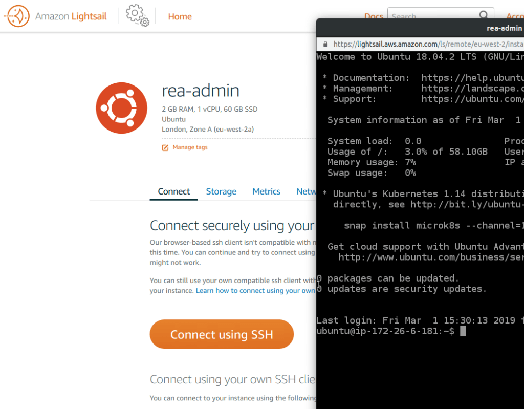 Connect AWS Lightsail SSH with ubuntu terminal | Gary Woodfine