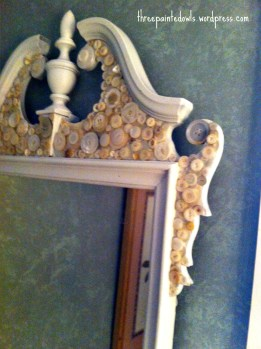 repurposed mirror with vintage buttons