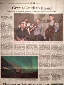 Threepwood 'N Strings geben Konzerte in Island (Marler Zeitung 07.10.2016)