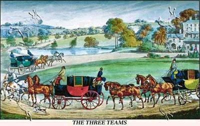 The Three Horse Teams by Henry Alken