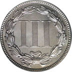 Three Cent Nickel Coin - Back - 1885