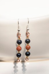 Sparkling blue and orange goldstone earrings