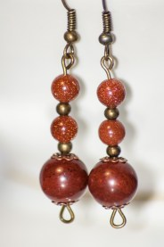Gorgeous goldstone and mahogany obsidian drop earrings