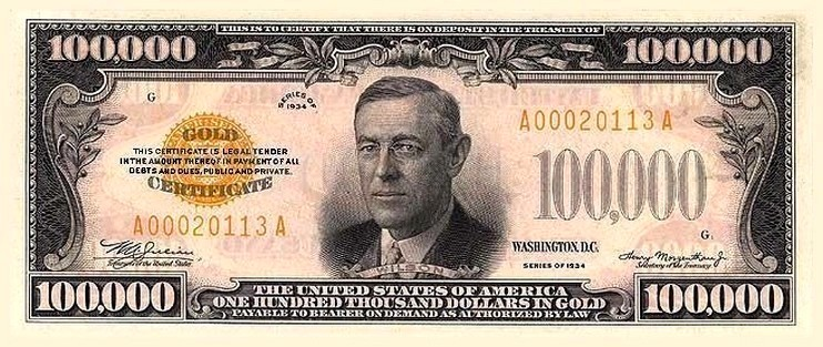 $100,000 bill.  In 1915 Woodrow Wilson became the first sitting president to go to a World Series baseball game; a year later he thew the opening ball.