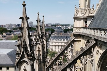 View of Orléans, France, through the flying buttresses of the cathedral