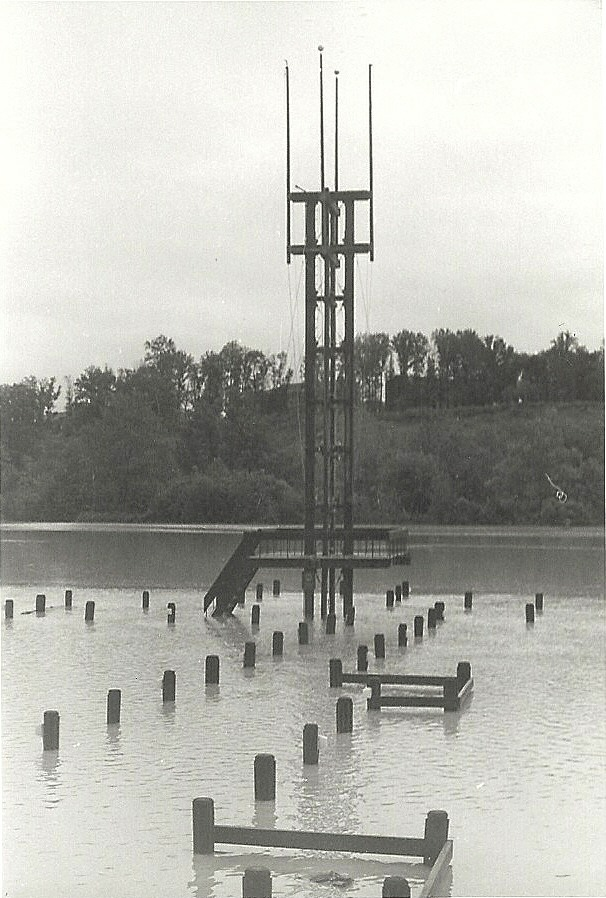 Lakefront bell tower, nobody was swimming out to ring that.  Photo by Mike Hartley