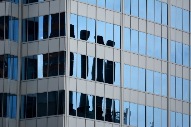 Reflection of roof of Power Plant in building windows. Photo by Mike Hartley