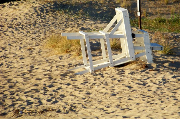 Chair down till next Memorial Day weekend. Photo by Mike Hartley