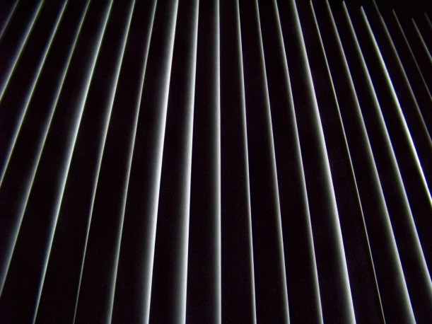 light coming through blinds after power went out. Photo by Mike Hartley