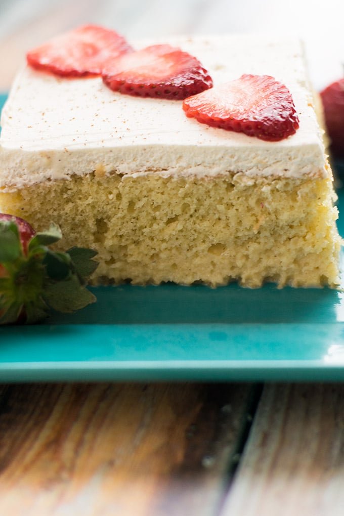 pastel de tres leches is a delicious latin american cake made with three different types of milk. It's the perfect dessert for cinco de mayo.