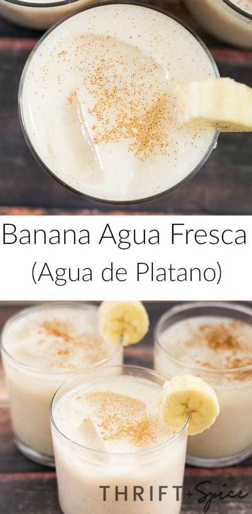Banana agua fresca or agua de platano is one of the most delicious beverages you will ever try. It's perfect during the hot summer months and kids love it!