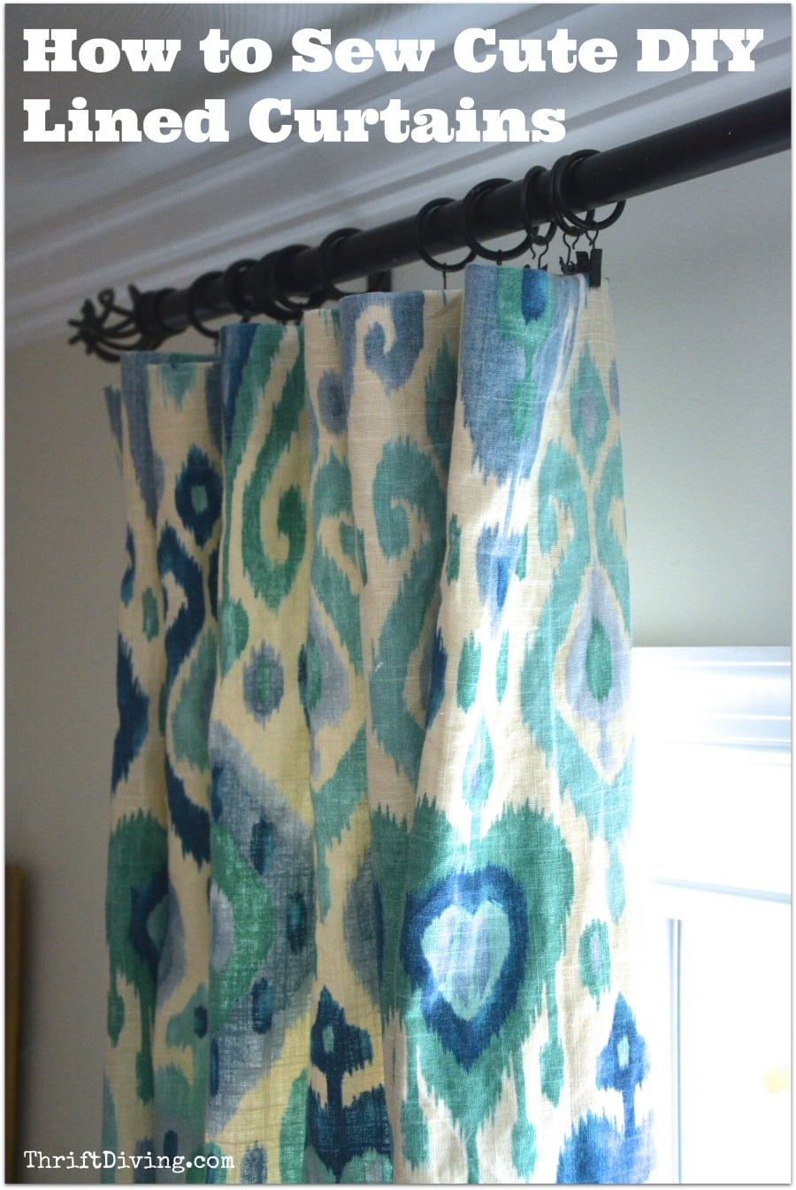 How to Sew Cute Lined DIY Curtains  Thrift Diving Blog