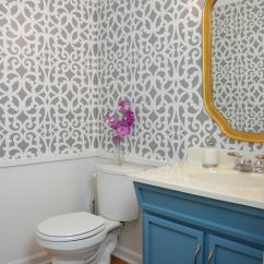 Small Bathroom Chairs Design Summer Infant High Chair My Colorful Gray Makeover With A Wall Stencil