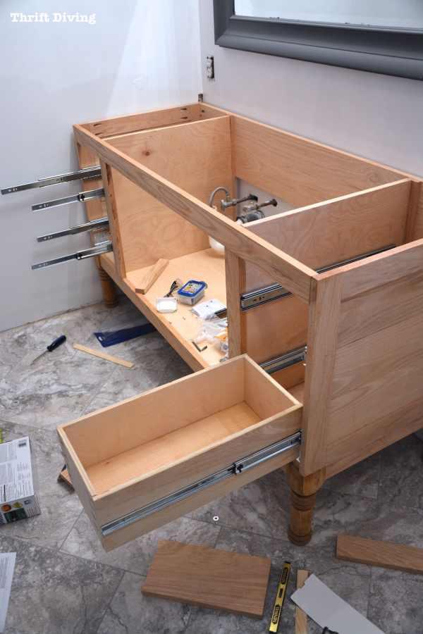 DIY Build Cabinet Drawers Bathroom Vanity
