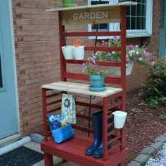Paint For Adirondack Chairs Grey Lounge Chair Before & After: Repurposed Toddler Bed Becomes A Diy Potting Bench!