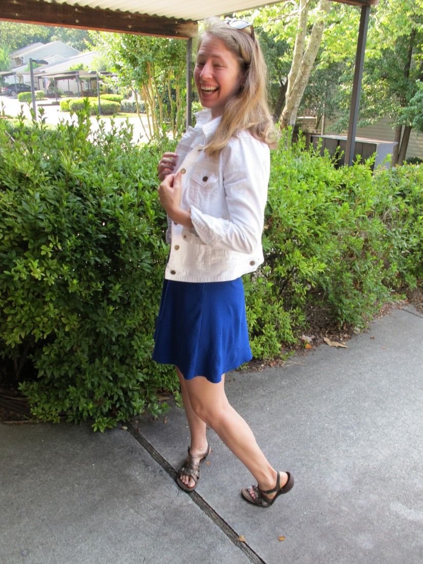 8a94300c01 What I Wore  Flared Blue Dress + White Denim Jacket + Leopard ...