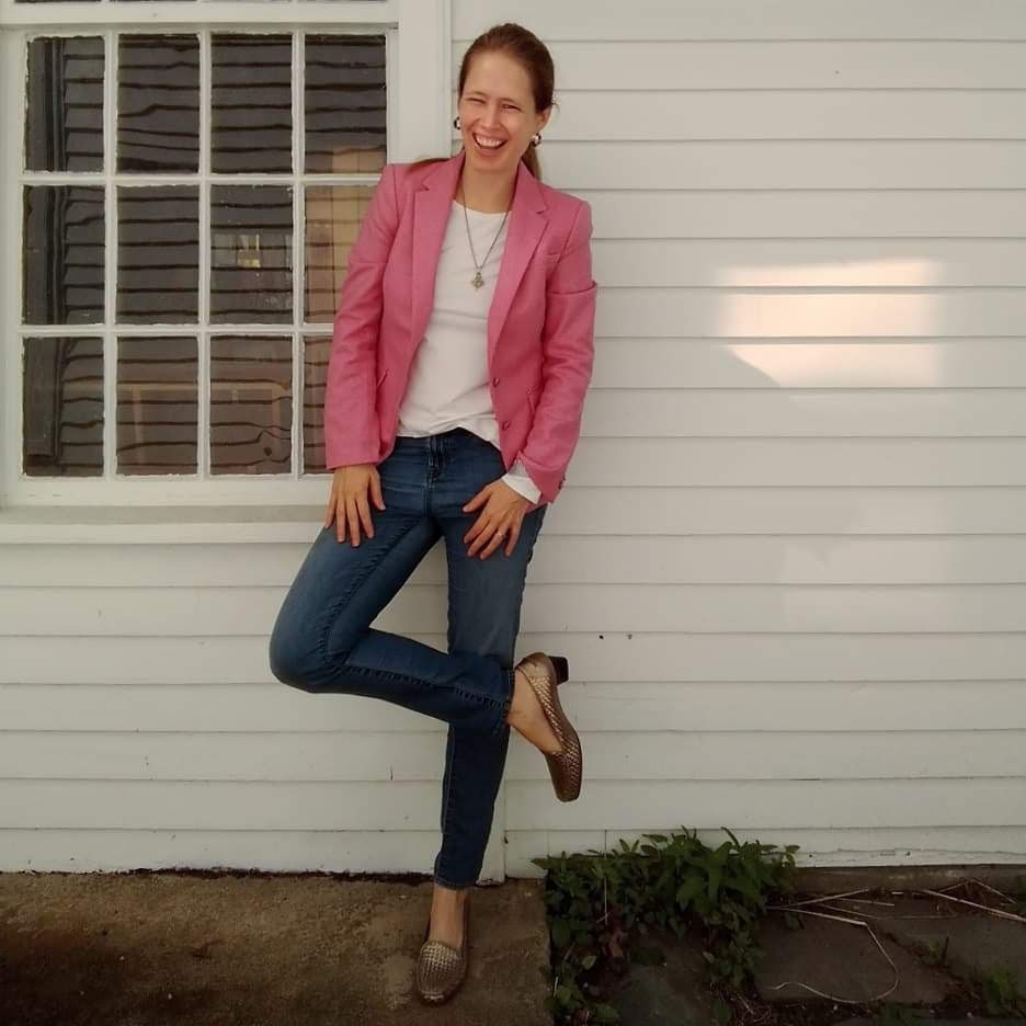 dc74cbc474b46 I used my existing pink blazer (hi, that's in almost every look here…),  white tee mentioned at the beginning of the post, light blue jeans with a  very ...