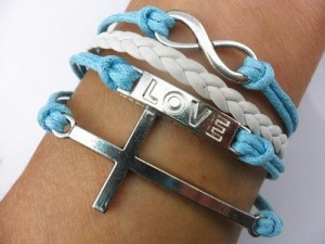 FREE - Love Infinite Bracelet White and Blue Leather Rope Cross Infinity