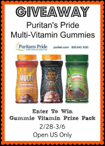 Puritan's Pride Gummie Vitamin Prize Pack Giveaway