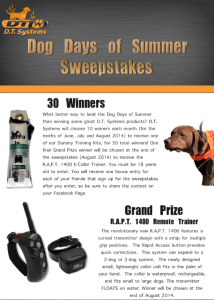 Dog Days of Summer Sweepstakes