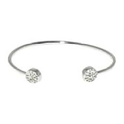 Sterling Silver-Plated Crystal Disc Bangle Bracelet Sweepstakes