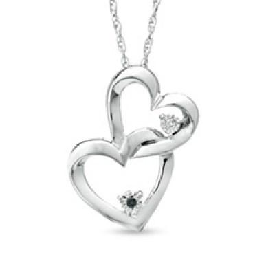 Black and White Diamond Interlocking Hearts Pendant Sweepstakes