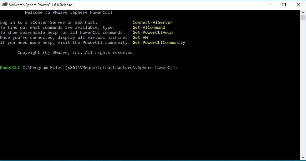 PowerCLI Console Window