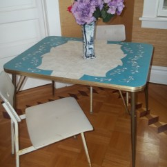 Formica Table And Chairs Outdoor Counter Height Sold Turquoise With 2  50 Thrifty