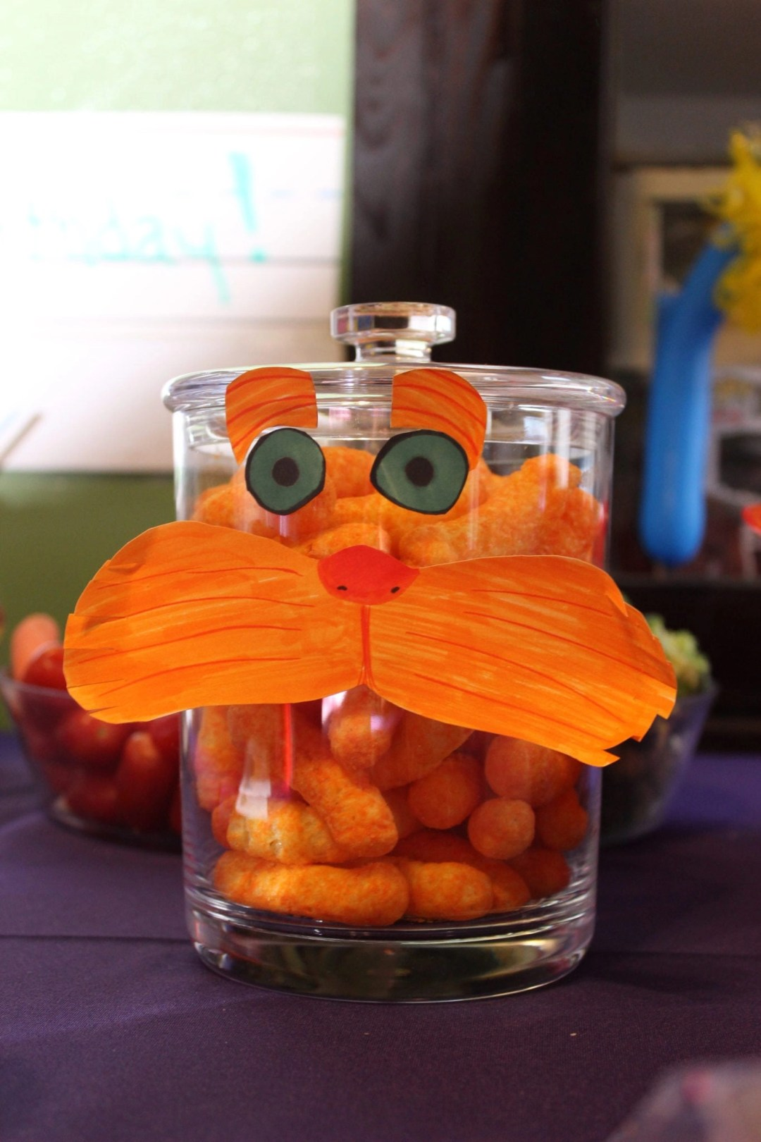 Jar of cheese puffs with Lorax