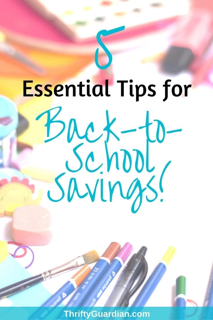 Back-to-school shopping and saving - five tips on how to save money when it comes time to shop for school supplies and clothes! Save money on kids clothes, frugal living, back to school shopping tips. #savemoney #frugal #thriftyguardian