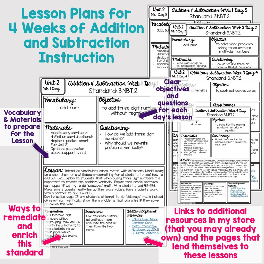 3rd Grade Guided Math Unit 2 Addition And Subtraction