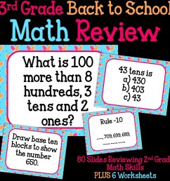 3rd Grade Back To School Math Review - Thrifty in Third Grade [ 1152 x 1152 Pixel ]