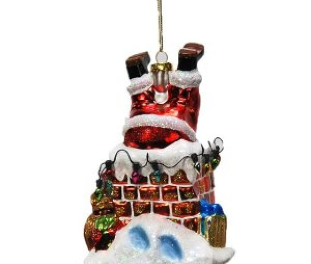 Santa Chimney Glass Ornament Beautiful Glass Ornament In The Shape Of Chimney With Santa Legs Sticking Up Is Elegantly Painted And Will Look Great On The
