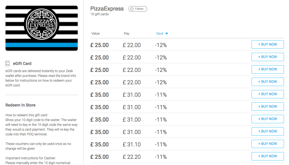 pizza express for less