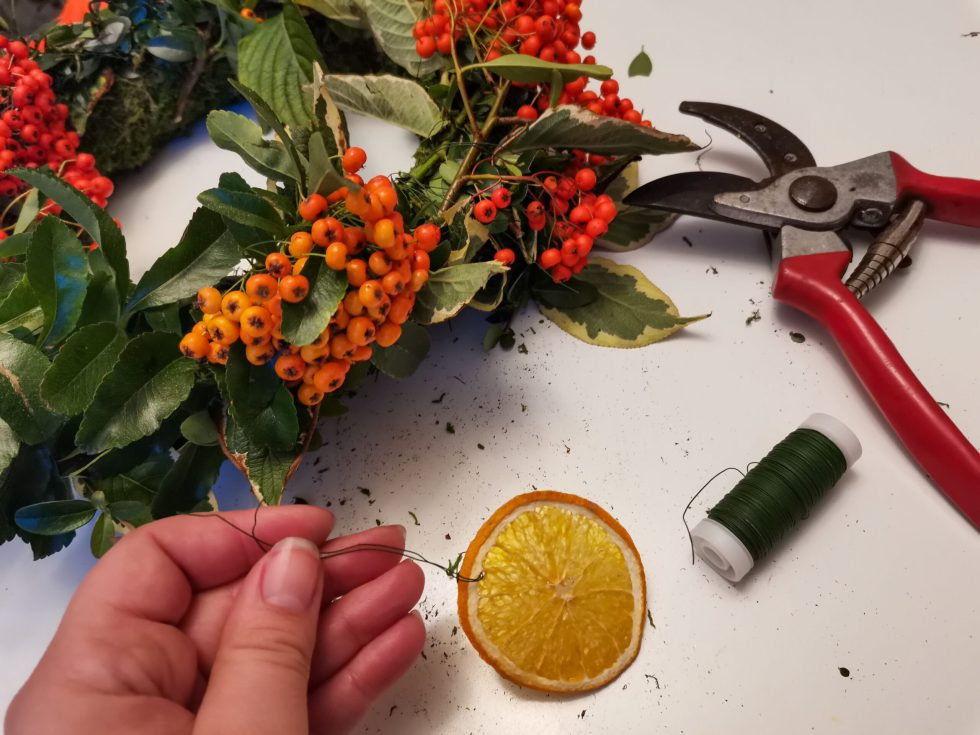 foraged festive wreath dried orange