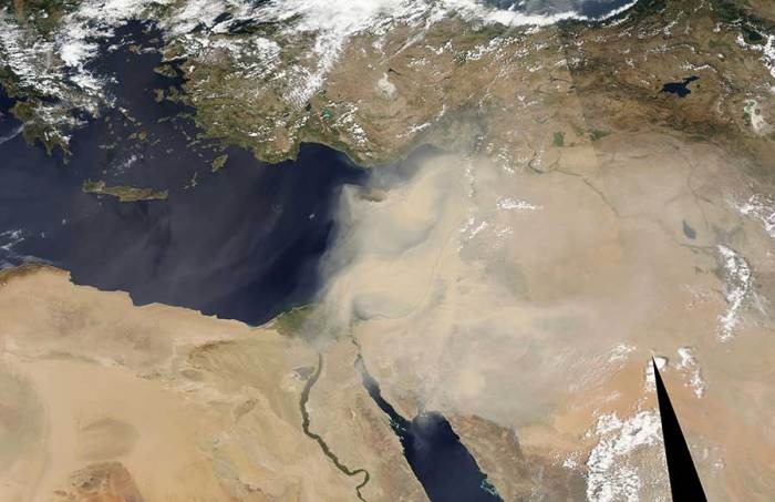 Photo Credit: NASA A picture from space of the dust storm.