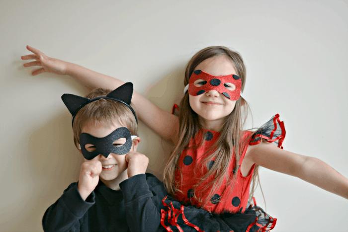 Diy miraculous tales of ladybug and cat noir masks thrifty nifty miraculous tales of ladybug and cat noir solutioingenieria Image collections