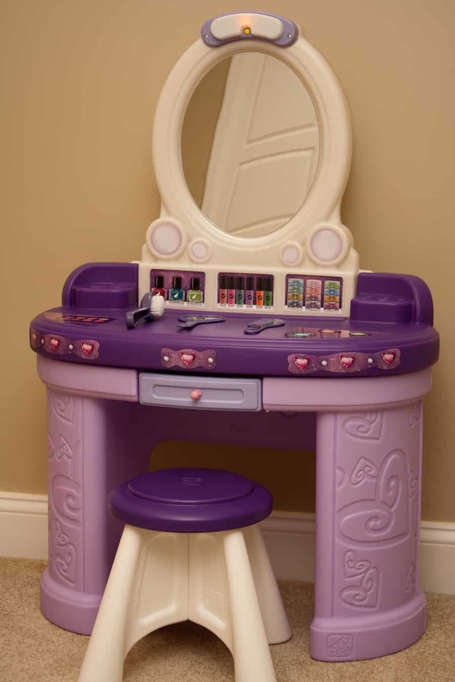purple makeup vanity chair salon chairs in delhi toddler haircare solutions with the step2 pretty and posh