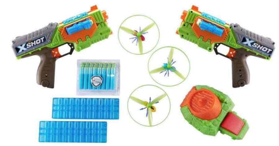 ZURU X-Shot Flying Bug Attack Double Swarm Seeker Foam Dart Blaster with Flying Bugs and Motorized Launcher