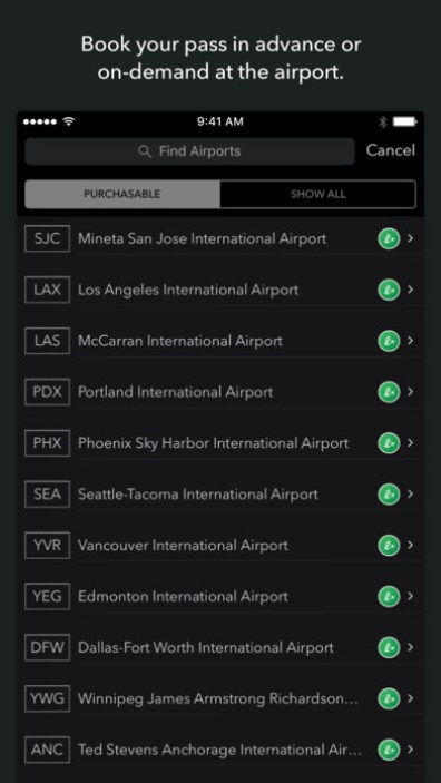Purchase airport lounge passes right within the app