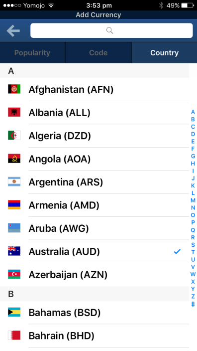 Add currency by country