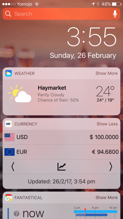 View exchange rates on lock screen