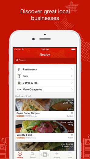 Yelp: Discover restaurants