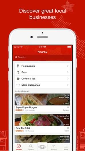 Yelp: Discover restaurants