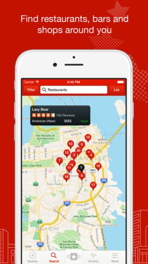 Yelp: Find nearby restaurants